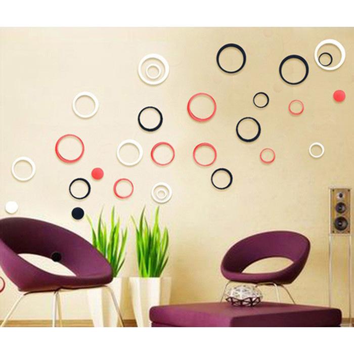Sticker 3D Wallpaper Dinding Circle Ring 5 PCS