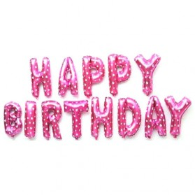 Balon Ulang Tahun Happy Birthday - Pink