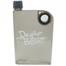 Memobottle Botol Minum Flat 380ml - Clear - Black