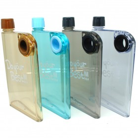 Memobottle Botol Minum Flat 380ml - Clear - Black - 5
