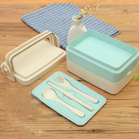 Rantang Kotak Makan dengan Sendok Garpu - Blue