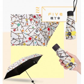 Fancytime Payung Mini Anti UV Umbrella - 6K - White/Red - 3