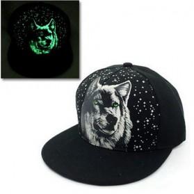 Topi Baseball Snapback Glow in the Dark Luminous Wolf - Black