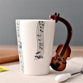 Cangkir Keramik Bergagang Lucu Model Violin - White
