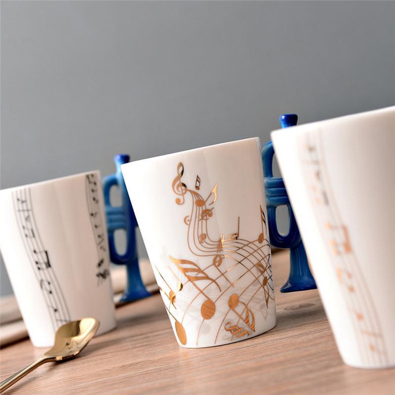 cangkir keramik bergagang lucu model violin white