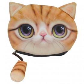 Dompet Koin Kain Model Cute Cat - Yellow