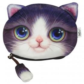 Dompet Koin Kain Model Cute Cat - Purple