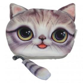 Dompet Koin Kain Model Cute Cat - Gray