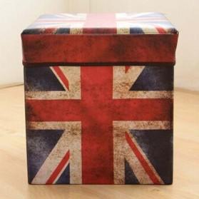 Monokweepjy Bangku Kotak Penyimpanan Barang Model Vintage - 30x30x30cm -CITVP10513 - Red