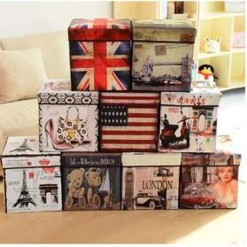 Monokweepjy Bangku Kotak Penyimpanan Barang Model Vintage - 30x30x30cm -CITVP10513 - Red - 2