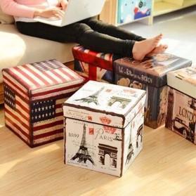 Monokweepjy Bangku Kotak Penyimpanan Barang Model Vintage - 30x30x30cm -CITVP10513 - Red - 3