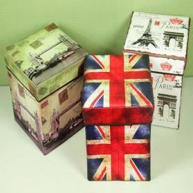 Monokweepjy Bangku Kotak Penyimpanan Barang Model Vintage - 30x30x30cm -CITVP10513 - Red - 4