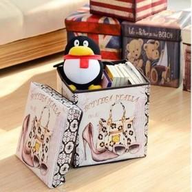 Monokweepjy Bangku Kotak Penyimpanan Barang Model Vintage - 30x30x30cm -CITVP10513 - Red - 5