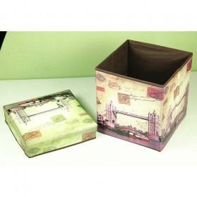 Monokweepjy Bangku Kotak Penyimpanan Barang Model Vintage - 30x30x30cm -CITVP10513 - Red - 6