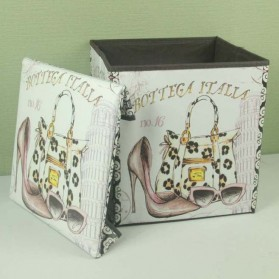 Monokweepjy Bangku Kotak Penyimpanan Barang Model Vintage - 30x30x30cm -CITVP10513 - Red - 8