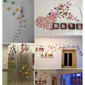 Stiker Dinding Kupu-Kupu Motif Abstrak 12 PCS - Pink - 4