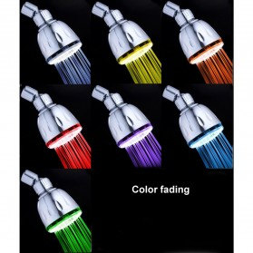 Kepala Shower Rotateable 7 Warna LED - Silver