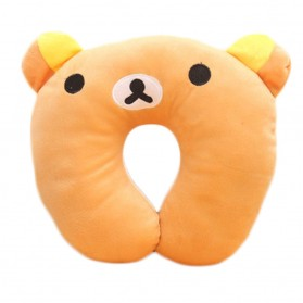 Bantal Leher U Pillow Travel Cartoon Character - Brown