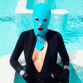 Facekini Topi Renang Topeng Full Face Anti UV - Blue