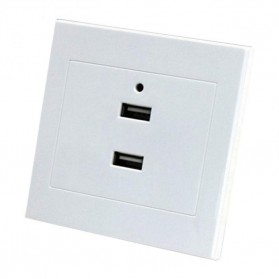 Stop Kontak Dinding 2 Port USB Wall Socket 2.1A - ES-USB-2 - White