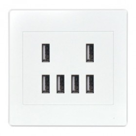 Stop Kontak Dinding 6 Port USB Wall Socket - ES-USB-6 - White - 1