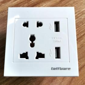 Taffware Stop Kontak Universal UK EU US & 2 Port USB Wall Socket - SZ46504 - White - 5