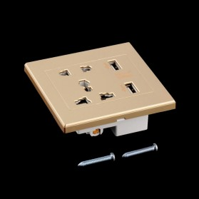 Stop Kontak Universal UK EU US & 2 Port USB - SZ46502 - Golden - 4