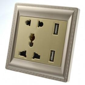 Elegant Stop Kontak Universal UK EU US & 2 Port USB - SZ46505 - Golden - 2
