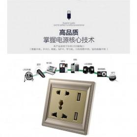 Elegant Stop Kontak Universal UK EU US & 2 Port USB - SZ46505 - Golden - 4