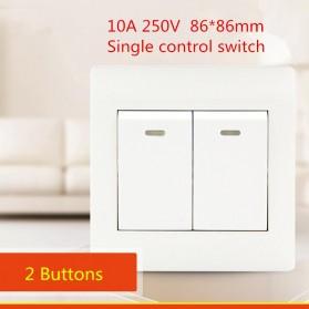 Saklar Lampu 86 Type 2 Switch - YT18 - White - 3