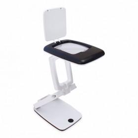 Kaca Pembesar Meja Magnifier 3x dengan Lampu LED - Black White
