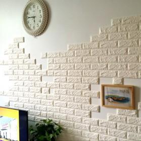 Sticker Wallpaper Dinding 3D Embosed Model Bata 60x30cm - White - 3