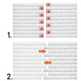 Sticker Wallpaper Dinding 3D Embosed Model Bata 60x30cm - White - 6