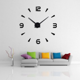 Jam Dinding Besar DIY Giant Wall Clock Quartz Creative Design 80-130cm - DIY-104 - Black