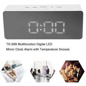 Jam Meja LED Digital Mirror Clock with Temperature - TS-S69 - White - 7