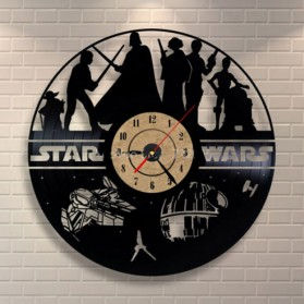 Jam Dinding Quartz Creative Design Model Hollow Star Wars - NS006 - Black