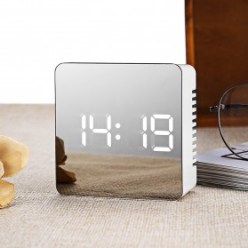 Lemari Pakaian - Jam Meja LED Digital Mirror Clock with Temperature -TS-570 - White