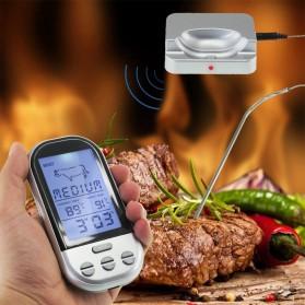 Digital Termometer Daging BBQ Wireless Timer Alarm with Probe Sensor - Silver