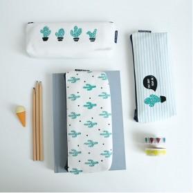 Kotak Pensil Cute Kawaii Cactus - White/Green - 2