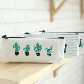 Kotak Pensil Cute Kawaii Cactus - White/Green - 3