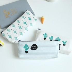 Kotak Pensil Cute Kawaii Cactus - White/Green - 4
