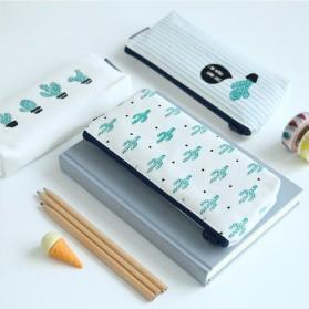 Kotak Pensil Cute Kawaii Cactus - White/Green - 5