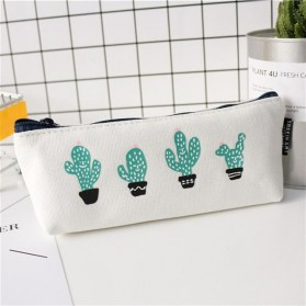 Kotak Pensil Cute Kawaii Cactus - White