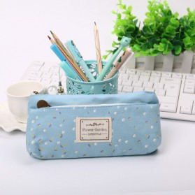 Tempat Pensil Shabby Double Zipper Pouch - Light Blue