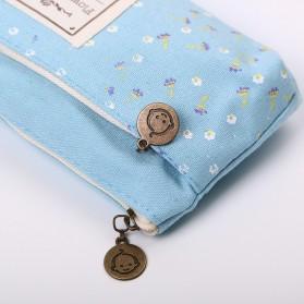 Tempat Pensil Shabby Double Zipper Pouch - Light Blue - 3