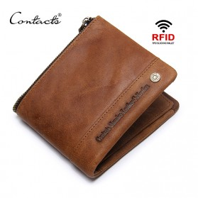 CONTACTS Dompet Pria Anti Theft RFID Block Wallet - M1233 - Coffee