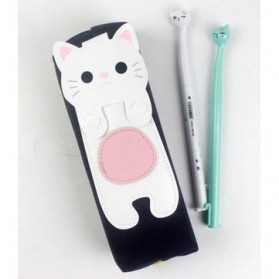 Kotak Pensil Cute Kawai Cat - Black