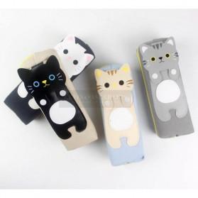 Kotak Pensil Cute Kawai Cat - Black - 3