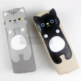 Kotak Pensil Cute Kawai Cat - Black - 5