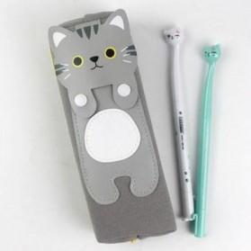 Kotak Pensil Cute Kawai Cat - Gray